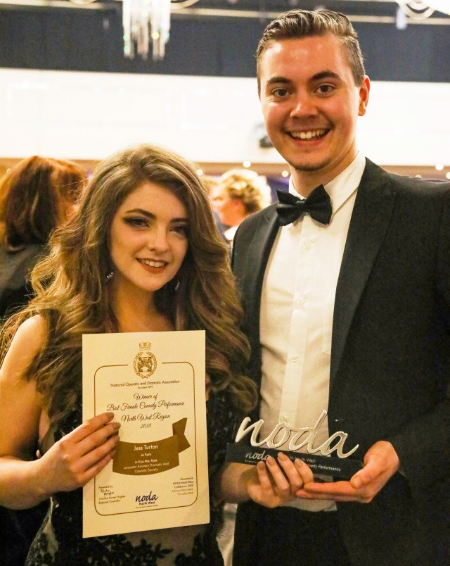 Jess Turton (with Josh Utting) and her award for Best Female Comedy Performance in the 2018 LADOS production of 'Kiss Me, Kate'